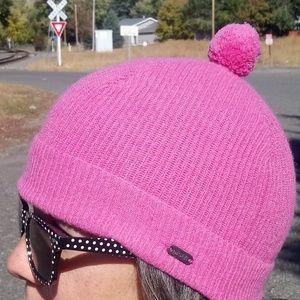 Pistil Pink Merino Wool Pom Pom Beanie Hat/Cap